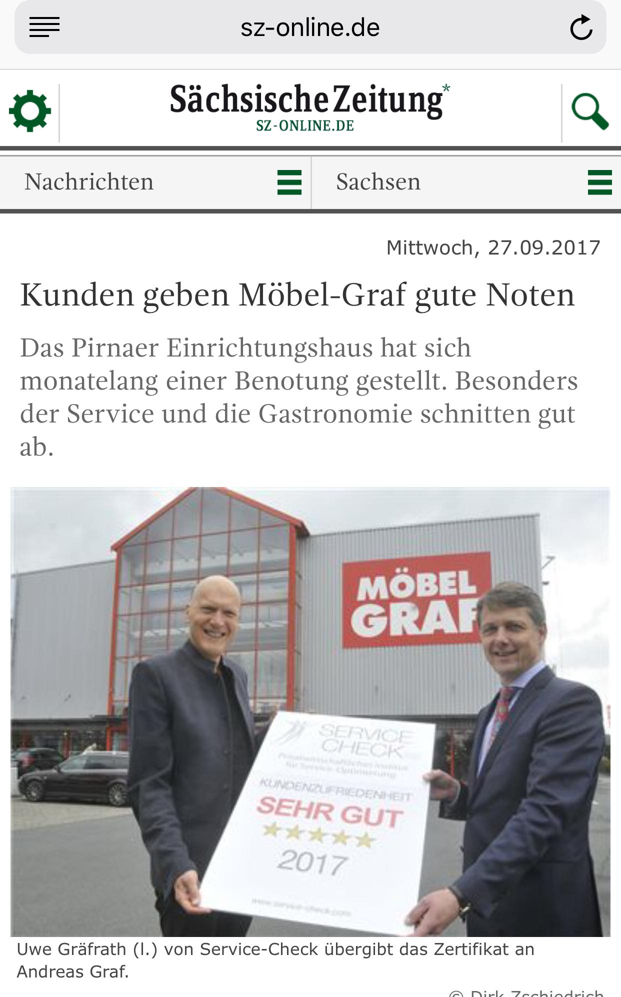 Ausgezeichneter Service Bei Mobel Graf In Pirna Service Check